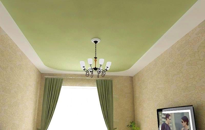 Матовый натяжной потолок зеленый